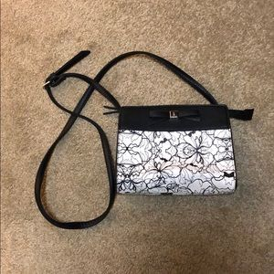 NWOT Nine West cross body bag black & white floral